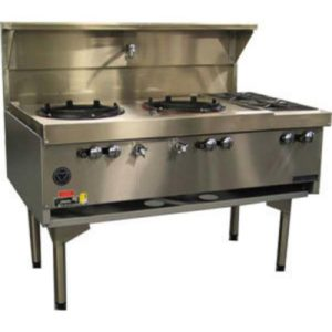 Goldstein Double Air Cooled Gas Wok With Side Burners