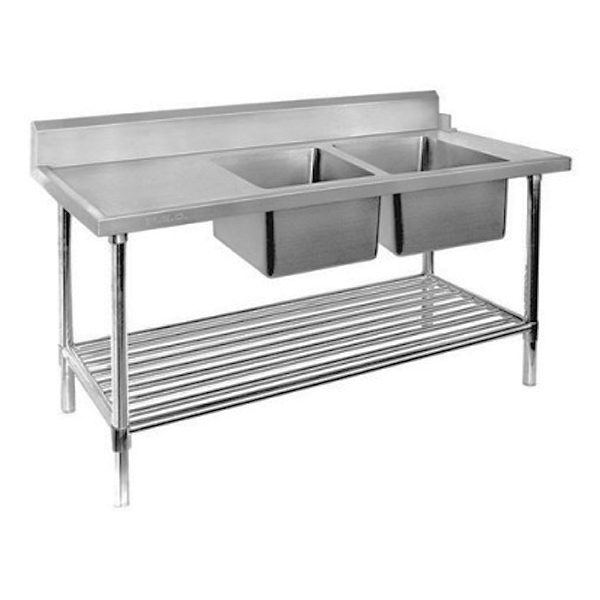 F.E.D. DSBD7 2400R Right Inlet Double Sink Dishwasher Bench