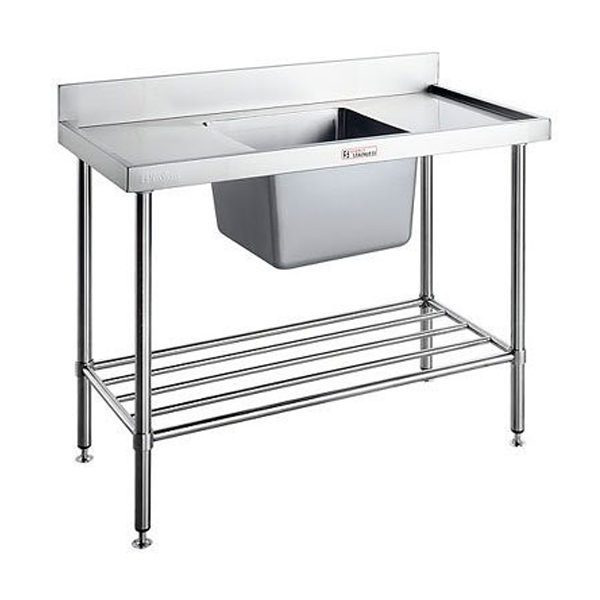 Simply Stainless SS05.1200.C/L/R Single Sink Bench With Splashback (600 Series) - 1200mm