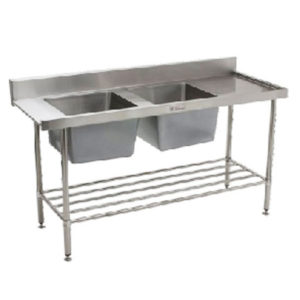 Simply Stainless SS09.1650 DB.L/R Double Sink Dishwasher Inlet Bench (600 Series)