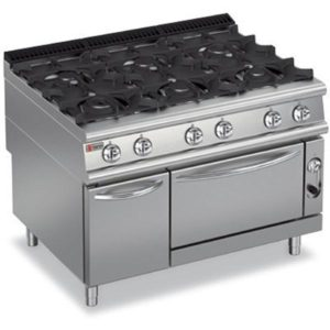 Baron Six Burner Gas Cook Top On Oven & Neutral Cupboard
