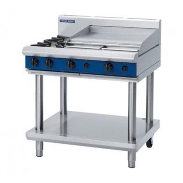 Blue Seal G516B-LS 2 Burner Cooktop With 600mm Griddle On Leg Stand