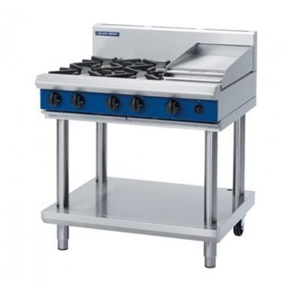 Blue Seal G516C-LS 4 Burner Cooktop With 300mm Griddle On Leg Stand