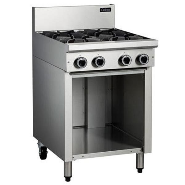 Cobra C6D 4 Burner Gas Cooktop On Open Cabinet Base