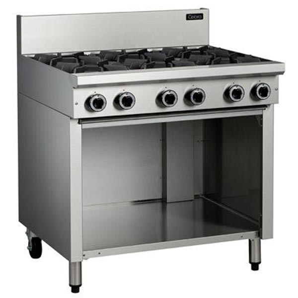 Cobra C9D 6 Burner Gas Cooktop On Open Cabinet Base
