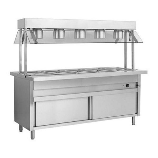 F.E.D. Heated 5 Pan Servery Bain Marie W/ Top Lamp Warmers & Storage Cabinet BSL5H