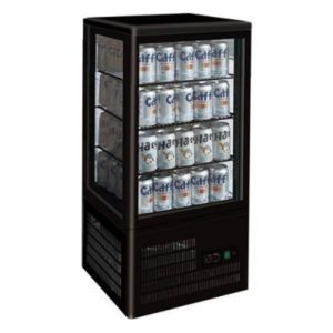 F.E.D. Four-Sided Black Countertop Display Fridge TCBD78B