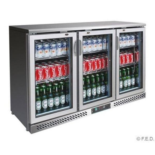 F.E.D. SC316SG Three Door BLACK MAGIC S/Steel Bar Cooler