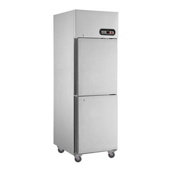 F.E.D. SUF500 2 x 1/2 Doors S/Steel Upright Freezer