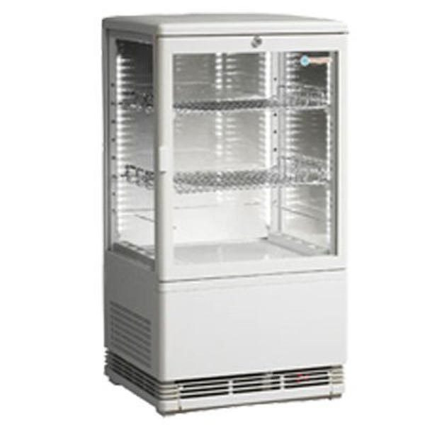 ICS Venice Joey Four Sided Glass Refrigerated Display In White-Bench Top