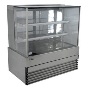 Koldtech KT.SQRCD.15.4T Square Glass Refrigerated Cake Display 4 Fixed Shelves – 1500mm