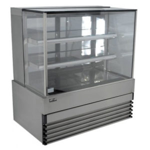 Koldtech KT.SQRCD.15 Square Glass Refrigerated Cake Display 3 Fixed Shelves – 1500mm