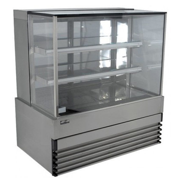 Koldtech KT.SQRCD.20.4T Square Glass Refrigerated Cake Display 4 Fixed Shelves - 2000mm