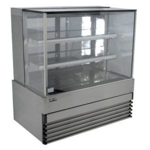 Koldtech KT.SQRCD.9.4T Square Glass Refrigerated Cake Display 4 Fixed Shelves – 900mm