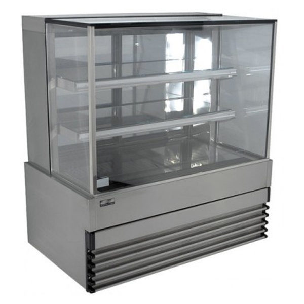 Koldtech KT.SQRCD.9.4T Square Glass Refrigerated Cake Display 4 Fixed Shelves - 900mm